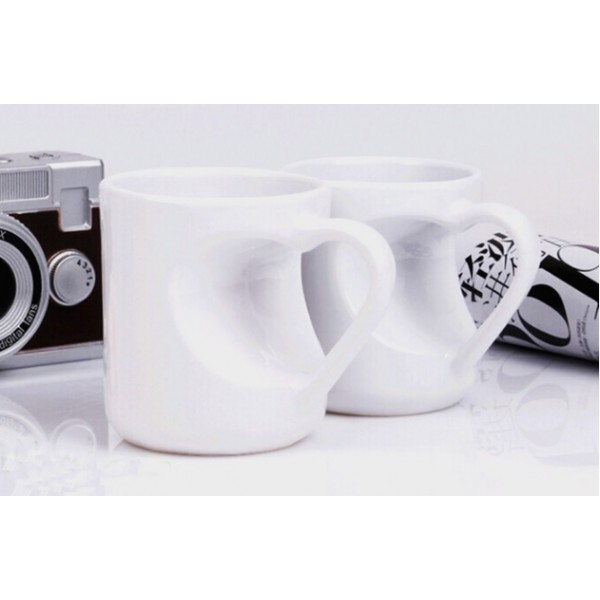 Set of 2 Personalized Heart-Shape Ceramic Coffee Mugs