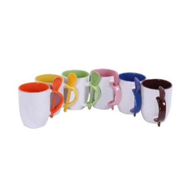 Set of 6 personalized colored coffee mugs