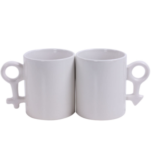 Set of 2 personalized couples' ceramic coffee mugs