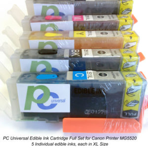 PC Universal Edible Ink Cartridges, Full Set Canon 250 251, XL Size Inks For Canon MG5520, MG6420, MX922 Printer, Edible Printing Decorating